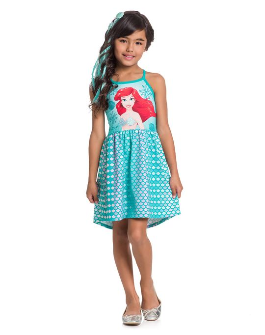 9482af4f82ed12 Vestido Infantil Princesas Menina Verde Brandili