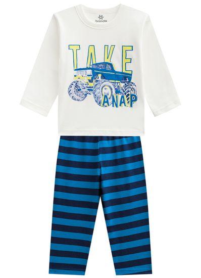 Pijama-infantil-menino-em-malha-listrado-Brandili-Off-white---1
