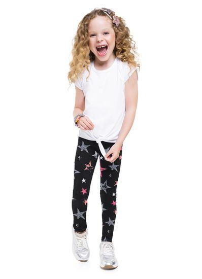 Calca-Legging-Infantil-menina-de-cotton-com-estampa-de-estrela-Basicos-Brandili