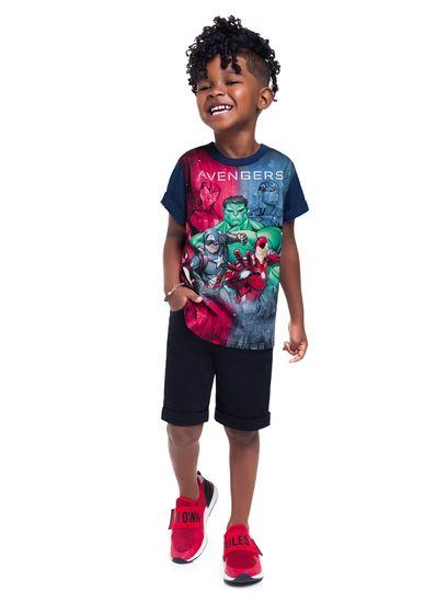 Camiseta-infantil-menino-de-malha-com-estampa-dos-Vingadores-Brandili