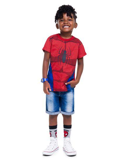 Camiseta-infantil-menino-de-malha-com-estampa-de-uniforme-do-homem-Aranha-Brandili