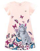 Vestido-infantil-menina-de-malha-pixel-com-estampa-de-gatinho-com-borboletas-Brandili