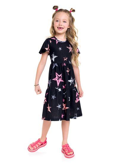 Vestido-midi-Infantil-menina-de-malha-com-estampa-de-estrelas-Brandili