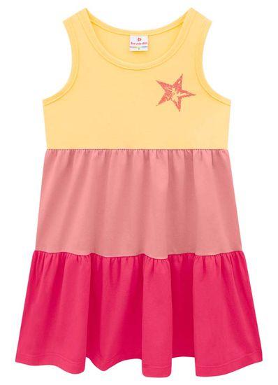 Vestido-infantil-menina-de-malha-com-recortes-em-cores-lisas-e-estampa-de-estrela-Brandili