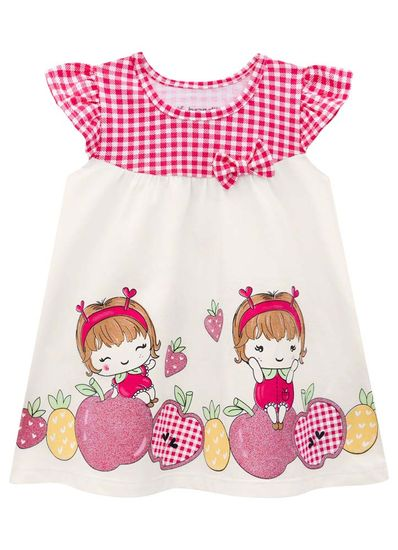 Vestido-Bebe-Menina-De-Malha-Com-Estampa-De-Hora-Da-Frutinha-Brandili-Baby