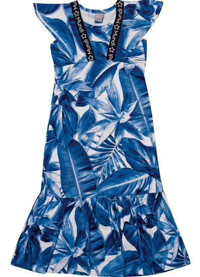 Vestido-Longo-Infantil-Menina-De-Cotton-Com-Estampa-De-Folhas-Mundi
