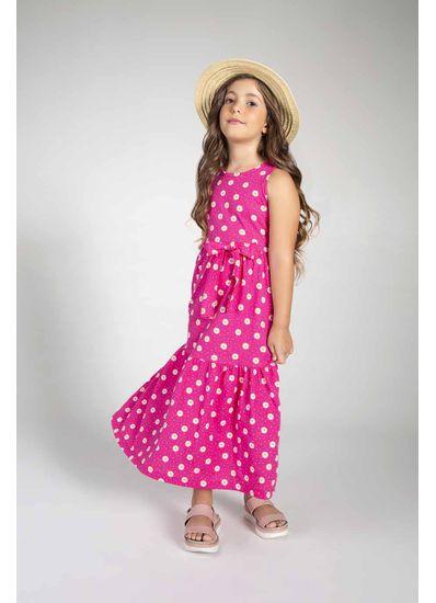 Vestido-Longo-Infantil-Menina-De-Malha-Com-Estampa-De-Bolinhas-Mundi