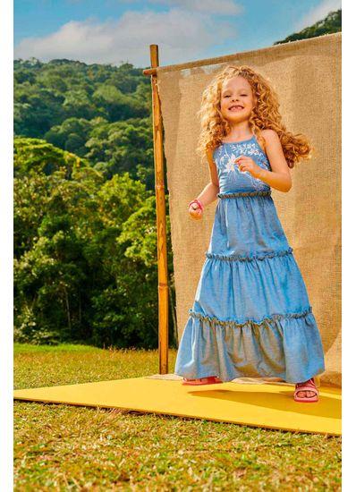 Vestido-Longo-Infantil-Menina-De-Menap-Com-Estampa-De-Flores-Brandili