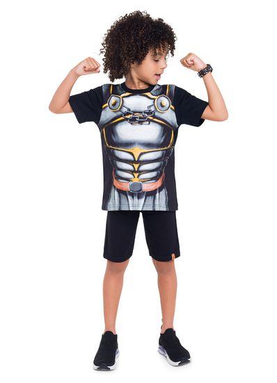 Camiseta-Infantil-Menino-De-Malha-Com-Estampa-Metalizada-De-Armadura---Acompanha-Castelo-Montavel---Veste-E-Diverte-Brandili