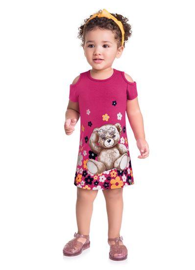 Vestido-Infantil-Menina-Cotton-Estampa-Ursinho-E-Florzinhas-Brandili