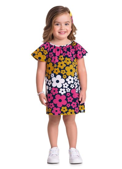 Vestido-Infantil-Menina-Malha-Estampa-De-Florzinhas-Brandili