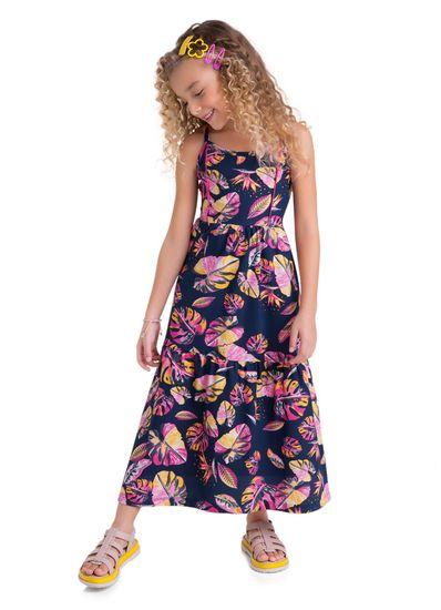 Vestido-Longo-Infantil-Menina-Malha-Estampa-De-Folhas-Brandili