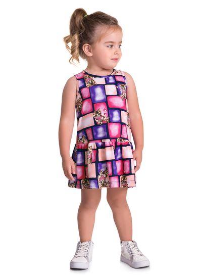 Vestido-Infantil-Menina-Malha-Estampa-De-Gatinho-Brandili