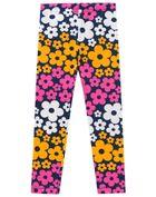 Calca-Legging-Infantil-Menina-Cotton-Estampa-De-Flores-Brandili