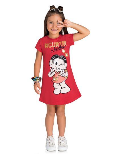 Vestido-Infantil-Menina-De-Moletinho-Estampa-Turma-Da-Monica-Brandili