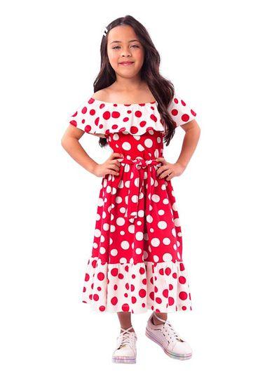 Vestido-Midi-Infantil-Menina-Cotton-Estampa-De-Bolinhas-Mundi