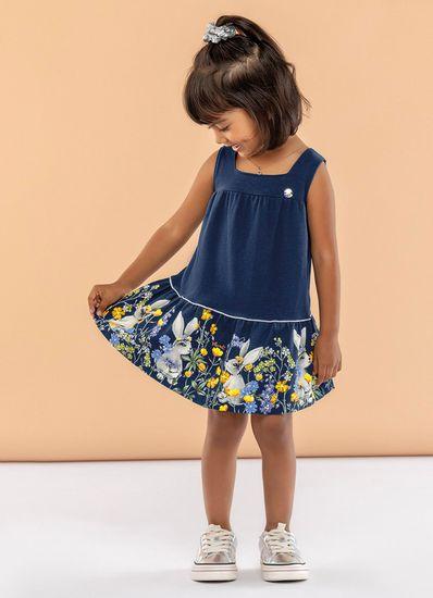 Vestido-Infantil-Menina-Malha-Estampa-De-Coelhos-E-Flores-Mundi